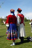 A couple of Russian Cossacks on their backs. Couple of Russian Cossacks dancers with typical costume stock photos