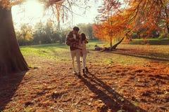 Couple`s autumn walk through the park stock photography