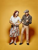 Couple and 70's look theme Royalty Free Stock Image