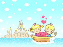 The couple's love towards the boat ride. A couple of Love Charac Stock Image