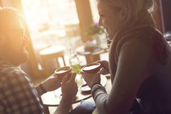 Couple`s morning coffee stock images