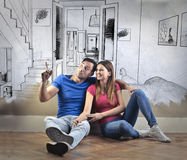 Couple's new house Stock Images