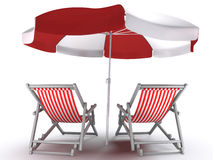 Couples Place. Deck chairs and umbrella, isolated on white background. 3D-rendered image vector illustration