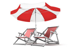 Couple's Place. Deck chairs and umbrella, isolated on white background. 3D-rendered image royalty free illustration