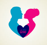 Couple's silhouette kissing image Royalty Free Stock Image