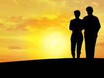 Couple's silhouette N1. Couple's silhouette with the sunset in the bottom Royalty Free Stock Photography