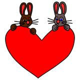Couple of sad rabbits with big red heart royalty free stock photo