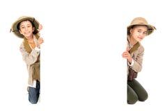 Couple in safari costume Stock Images