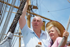 Couple on the sailboat Royalty Free Stock Photo