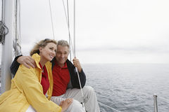 Couple On Sailboat Stock Photo