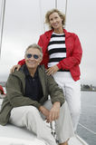 Couple On Sailboat During Vacations royalty free stock image