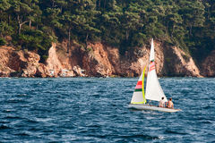 Couple Sailing. A young couple is sailing in front of a green forrest Island scene Stock Image