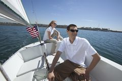Couple Sailing In Boat Royalty Free Stock Image