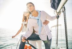 Couple sailing on boat Royalty Free Stock Photography
