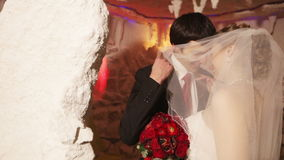 Couple in a salt cave stock footage