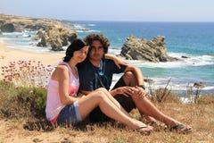 Couple and Samoqueira beach royalty free stock photos