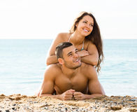 Couple  on sand beach Stock Photo