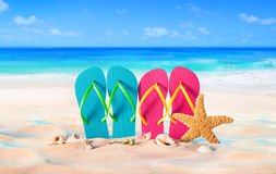 Couple sandals and shells on sand Royalty Free Stock Images