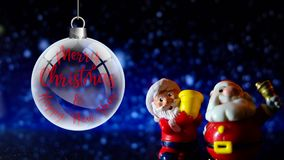Couple of Santa Claus Merry Christmas and Happy New Year. Distant with fireplace background. stock video footage