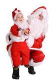 Couple of santa clause wait christmas. Isolated Stock Images