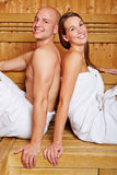 Couple in sauna of a hotel Royalty Free Stock Photo