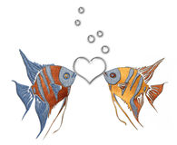 Couple of scalars. Illustration of two fishes on the white background. Decorated image of scalars Stock Images