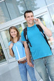 Couple at School (Focus on Woman) Royalty Free Stock Image