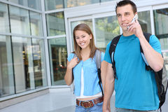 Couple at School (Focus on Woman) Royalty Free Stock Photography