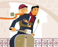Couple on scooter Stock Photo