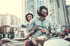 Couple on scooter Royalty Free Stock Photos