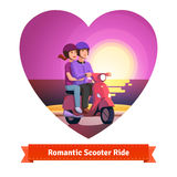 Couple on scooter having a romantic ride Stock Images