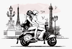 Couple on  a scooter in Paris Royalty Free Stock Images
