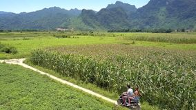 Couple on scooter turns left smile to flycam on fields stock footage