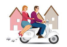 Couple on scooter. Vintage couple on scooter vespa Stock Image