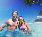 Couple Scuba Gear Paradise Summer Vacation Concept Royalty Free Stock Photo