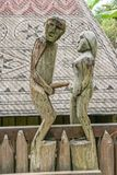 Couple sculpture in Mekong Delta. You can visit historical villages along Mekong Delta in Vietnam. Here, many wood sculptures for fertility goddess royalty free stock image