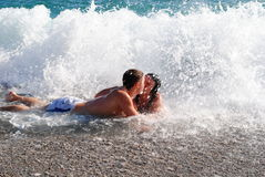 Couple in the sea Stock Images