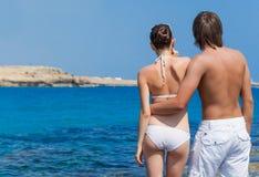 A couple in the sea Stock Photos