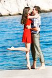 Couple on sea background Royalty Free Stock Image