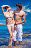 A couple in the sea Stock Photography