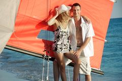 Couple on sea catamaran background Royalty Free Stock Photo