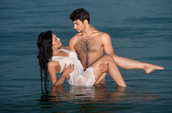 Couple in the sea Stock Photography