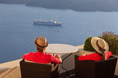Couple on sea vacation in Santorini Royalty Free Stock Photos
