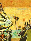 Couple at seashore watching sailing ships Stock Photography