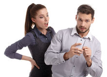 Couple and secret message on cell phone. Stock Photo