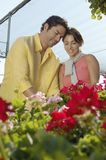Couple Selecting Flower Plants Stock Photography