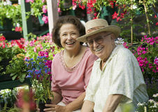 Couple Selecting Flowers In Nursery Stock Photos