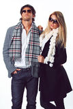 Couple of self confident fashion models Royalty Free Stock Image