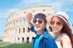Couple selfie happily in Italy stock photos