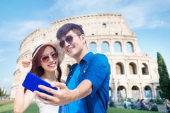 Couple selfie happily in Italy royalty free stock photos